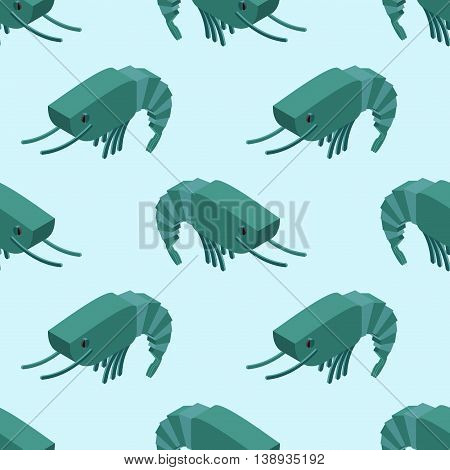 Shrimp Isometric Seamless Pattern. Marine Plankton Ornament. Animal Aquatic Arthropods Texture. Unde