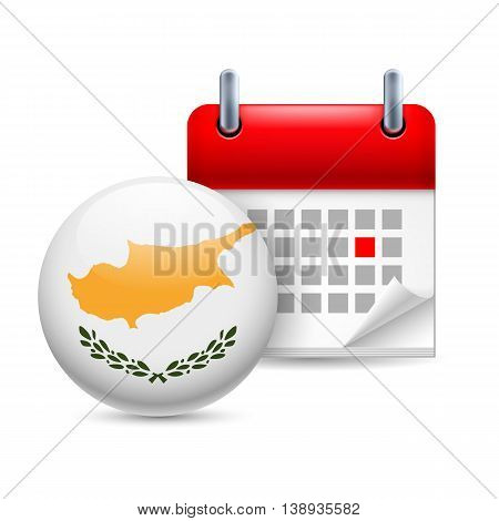 Calendar and round Cypriot flag icon. National holiday in Cyprus