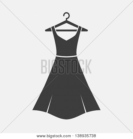 Female girl long dress with belt on a hanger. Simple icon dress. Black dress. Vector