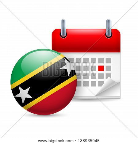 Calendar and round flag icon. National holiday in Federation of Saint Kitts and Nevis