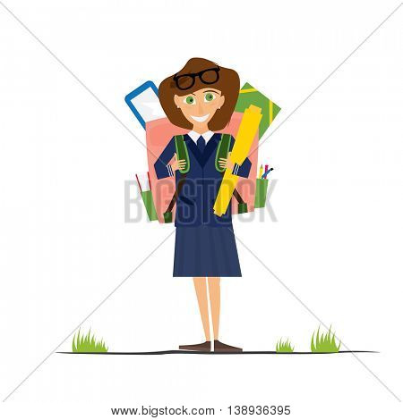 Smiling Young School Girl in Uniform with Pink Backpack. Vector Illustration. Girl isolated on white background. Back to School Concept.
