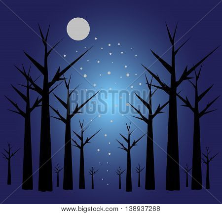 Illustration with magic scene with trees and the moon in the night