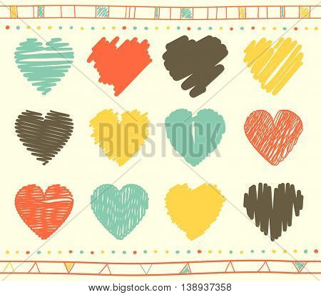 Vector collection of scribbled valentine hearts with hand drawn style of red, yellow, blue and grey color