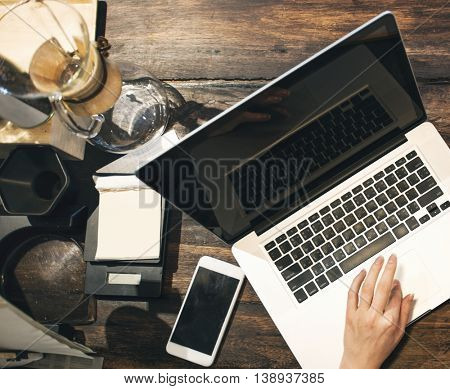 Coffee Cafe Laptop Ordering Owner Working Concept