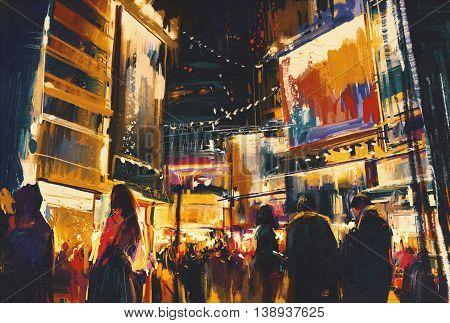 colorful of night city, illustration digital painting