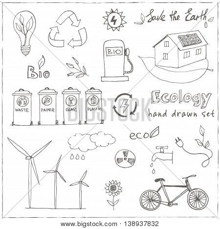 Ecology and recycle doodle icons set vector illustration