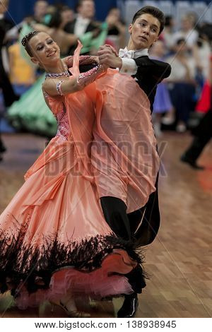 Minsk Belarus -May 28 2016: Vinyatckiy Roman and Gurchenko Anna Perform Youth-2 Standard Program on National Championship of the Republic of Belarus in May 28 2016 in Minsk Belarus