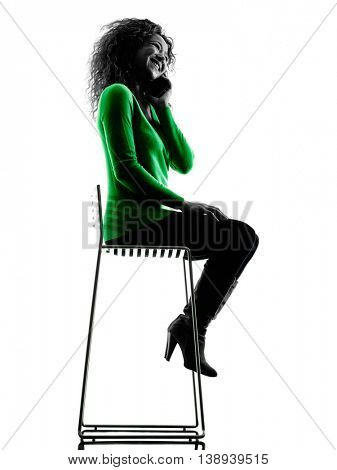 woman Telephones silhouette isolated