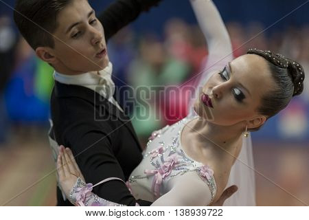 Minsk Belarus -May 29 2016: Grivachevskiy Stepan and Sergeichuk Anastasiya Perform Juvenile-2 Latin-American Program on National Championship of the Republic of Belarus in May 29 2016 in Minsk Republic of Belarus