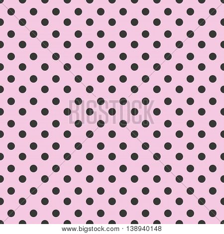 Abstract geometric seamless pattern with black dots on pink background. Vintage paper texture can be used for your design as wrapping paper. Seamless polka dot background