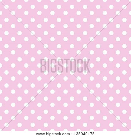 Abstract geometric seamless pattern with white dots on pink background. Vintage paper texture can be used for your design as wrapping paper. Seamless polka dot background