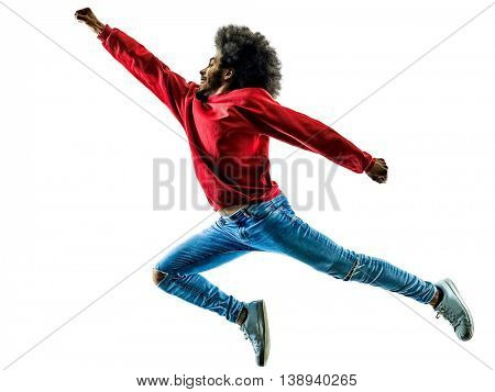 african man jumping happy  isolated
