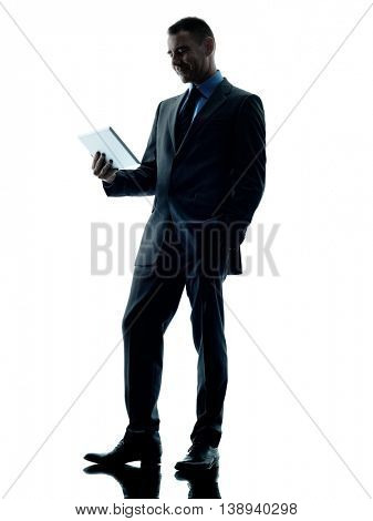 business man holding digital tablet  isolated