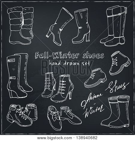 Vector illustration of woman fall and winter shoes, boots set. Hand-drown footwear illustrations. Fashion collection sketch.