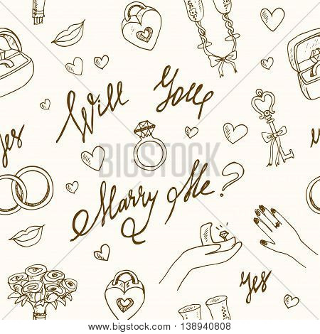 vector wedding seamless pattern isolated Marry me ring, flowers