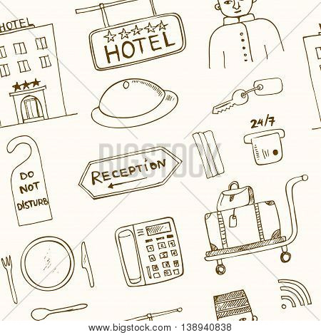 Vector hotel seamless pattern Hand drawn doodle sketch illustration