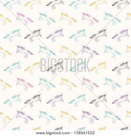 Seamless Pattern with Unicorns. Fantasy Illustration. Fairytale vector background