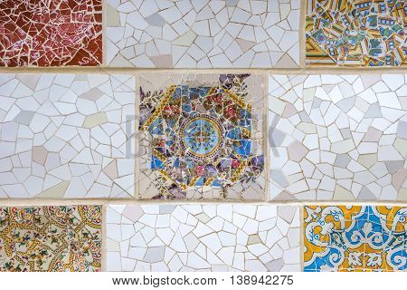 Ceramic art in Park Guell in Barcelona Spain