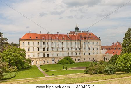 VALTICE CZECH REPUBLIC - MAY 29 2016: Valtice Palace (18th c.) in Czech Republic former seat of the ruling princes of Liechtenstein. Architect Johann Erlach. UNESCO site