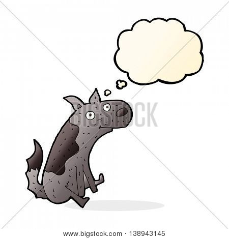 cartoon sitting dog with thought bubble