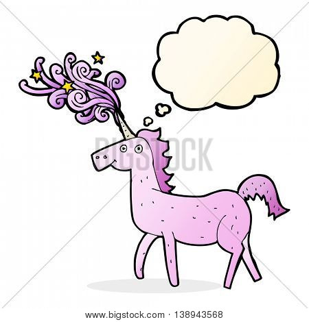 cartoon magical unicorn with thought bubble
