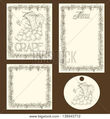 Hand Drawn Menu Pages, Card and Tag Design Set with Ripe Bunch of Grapes