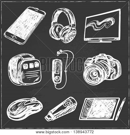 set of smart media devices and personal gadgets. Hand drawn realistic vector decoration