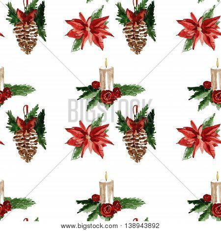 Holly jolly Merry Christmas Seamless pattern Hand drawn image