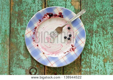 Dirty plate with fresh blueberries left on turquoise background top view
