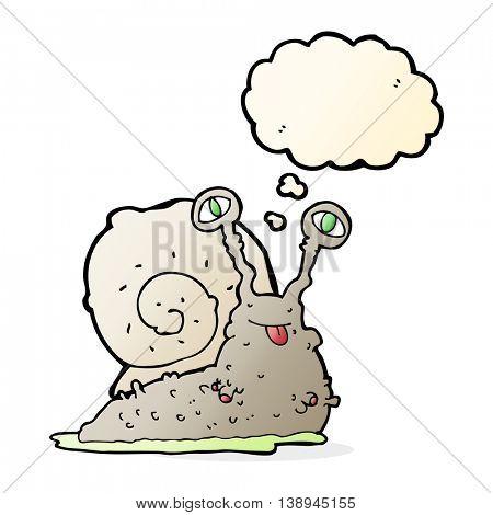 cartoon gross slug with thought bubble