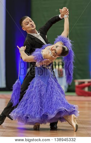 Minsk Belarus -May 28 2016: Kitcun Andrey and Krepchuk Yuliya Perform Adult Show Case Dance Show During the National Championship of the Republic of Belarus in May 28 2016 in Minsk Republic of Belarus