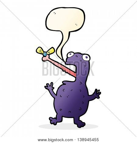 cartoon poisonous frog catching fly with speech bubble