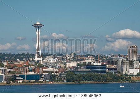 SEATTLE, WASHINGTON, USA - JULY 29, 2011: Skyline of Seattle and Space Needle Tower in Washington United States.