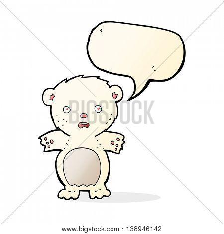 frightened polar bear cartoon with speech bubble