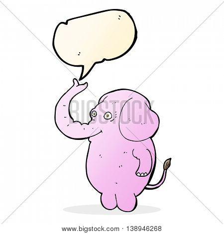 cartoon funny elephant with speech bubble