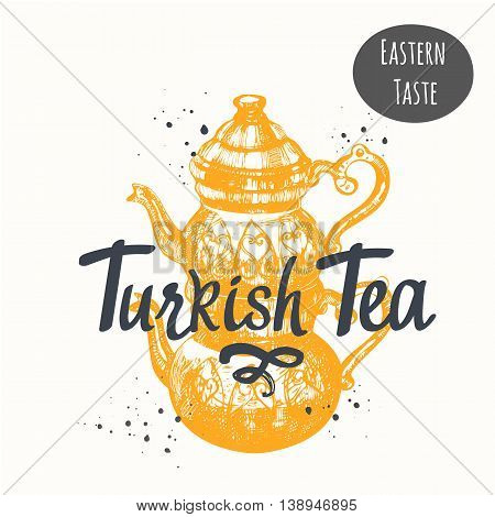 Traditions of tea time. Decorative elements for your design. Vector Illustration with tea party symbols on white background.