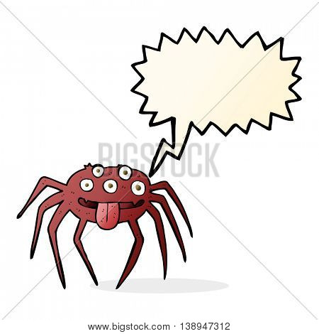 cartoon gross halloween spider with speech bubble