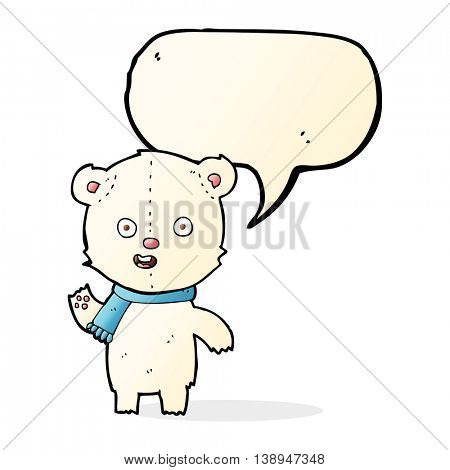 cartoon waving polar bear cub with scarf with speech bubble