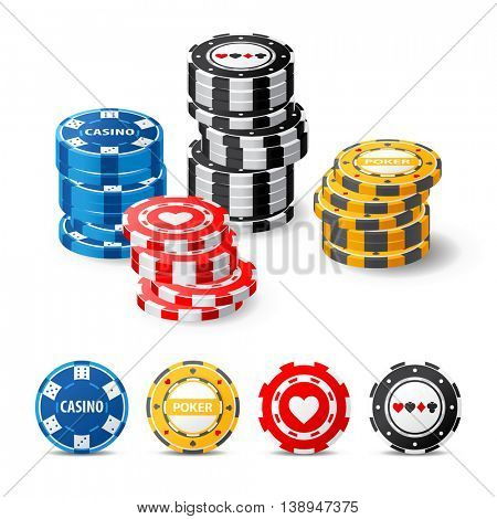 highly detailed gambling chips over white background