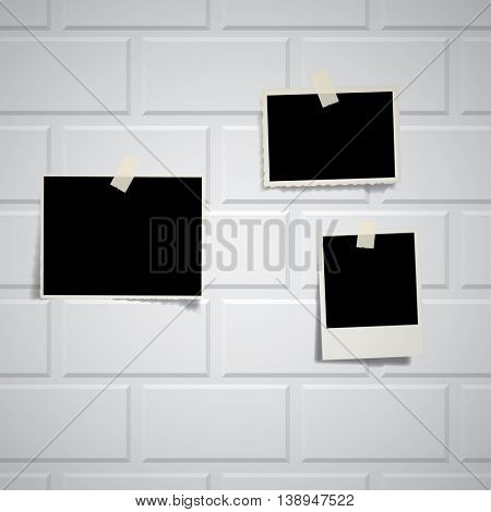 vector vintage blank photos on white brickwall