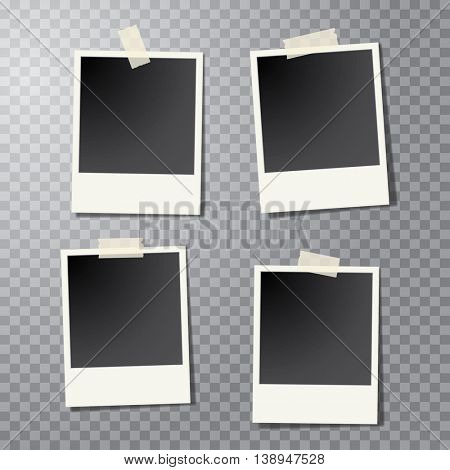 four vector taped vintage photo frames with transparent shadow