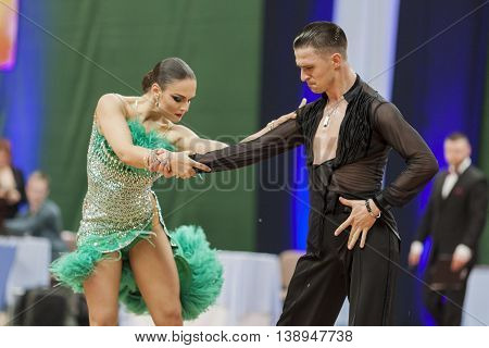 Minsk Belarus -May 28 2016: Kitcun Andrey and Krepchuk Yuliya Perform Adult Latin-American Program on National Championship of the Republic of Belarus in May 28 2016 in Minsk Belarus