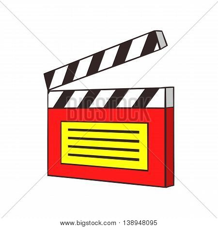 Clapperboard icon in cartoon style isolated on white background. Film symbol