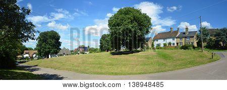 Panorama of the green at Abbotsley Cambridgeshire England