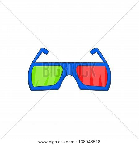 Glasses for 3d movie icon in cartoon style isolated on white background. Film symbol