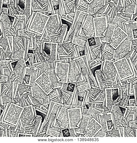 Seamless Vector Pattern with Black and White Book Pages