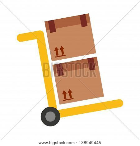 handcart cart boxes carton icon vector isolated graphic
