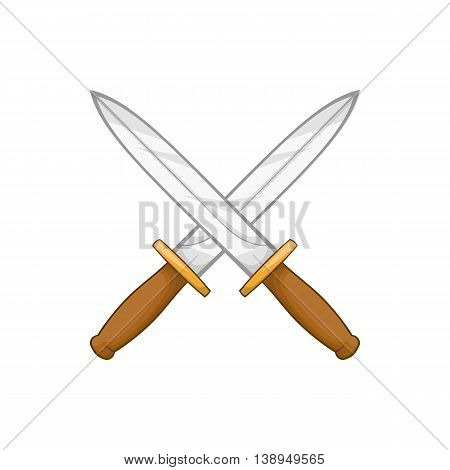 Knives icon in cartoon style isolated on white background. Weapons symbol