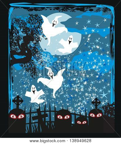 Halloween landscape with ghostly figure and cemetery , vector illustration