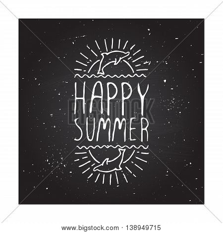 Hand-sketched summer element with dolphin and sun on blackboard background. Text - Happy summer